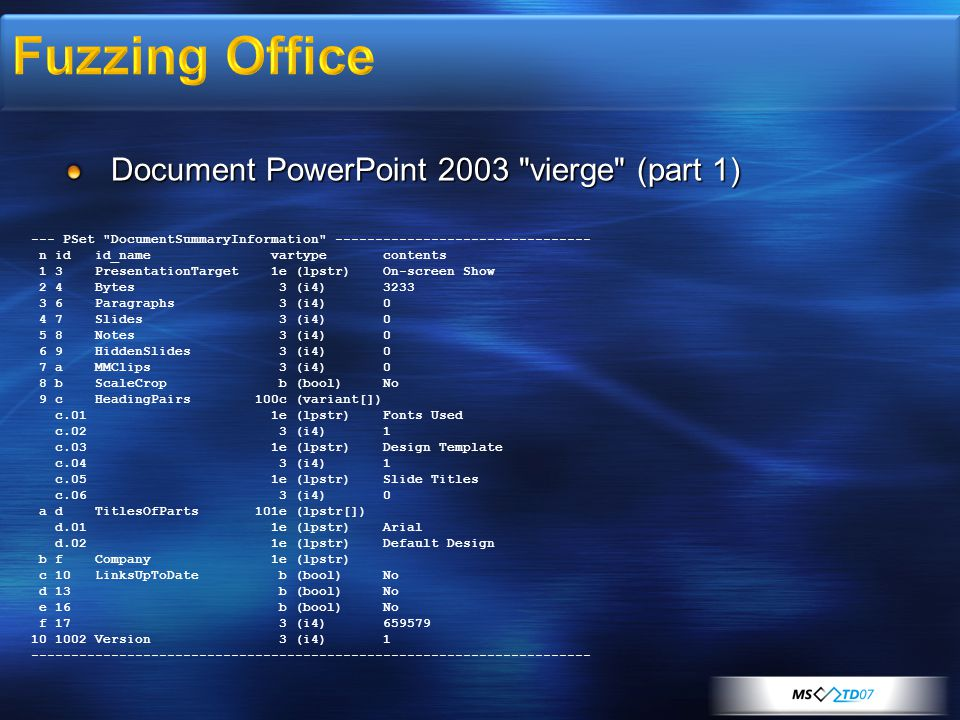 Document PowerPoint 2003 vierge (part 1) --- PSet DocumentSummaryInformation -------------------------------- n id id_name vartype contents 1 3 PresentationTarget 1e (lpstr) On-screen Show 2 4 Bytes 3 (i4) 3233 3 6 Paragraphs 3 (i4) 0 4 7 Slides 3 (i4) 0 5 8 Notes 3 (i4) 0 6 9 HiddenSlides 3 (i4) 0 7 a MMClips 3 (i4) 0 8 b ScaleCrop b (bool) No 9 c HeadingPairs 100c (variant[]) c.01 1e (lpstr) Fonts Used c.02 3 (i4) 1 c.03 1e (lpstr) Design Template c.04 3 (i4) 1 c.05 1e (lpstr) Slide Titles c.06 3 (i4) 0 a d TitlesOfParts 101e (lpstr[]) d.01 1e (lpstr) Arial d.02 1e (lpstr) Default Design b f Company 1e (lpstr) c 10 LinksUpToDate b (bool) No d 13 b (bool) No e 16 b (bool) No f 17 3 (i4) 659579 10 1002 Version 3 (i4) 1 ----------------------------------------------------------------------