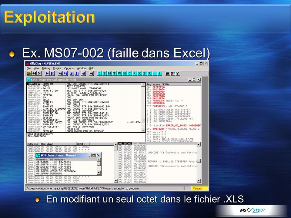 Ex. MS07-002 (faille dans Excel) En modifiant un seul octet dans le fichier.XLS