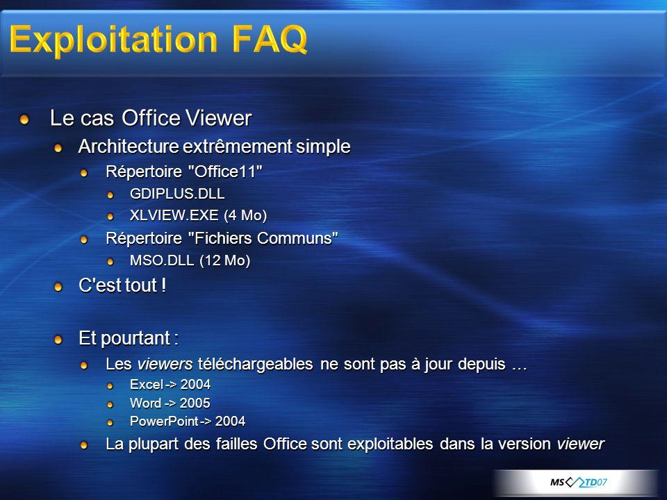 Le cas Office Viewer Architecture extrêmement simple Répertoire Office11 GDIPLUS.DLL XLVIEW.EXE (4 Mo) Répertoire Fichiers Communs MSO.DLL (12 Mo) C est tout .