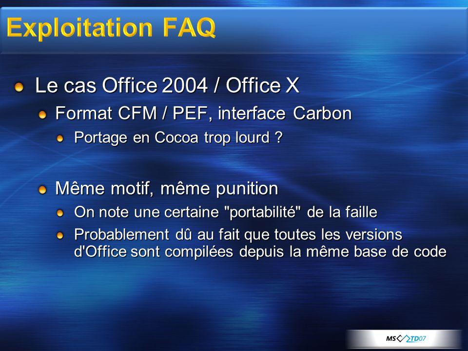 Le cas Office 2004 / Office X Format CFM / PEF, interface Carbon Portage en Cocoa trop lourd .