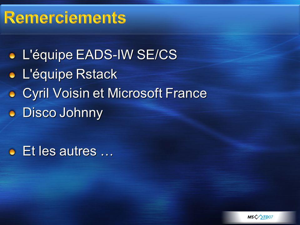 L équipe EADS-IW SE/CS L équipe Rstack Cyril Voisin et Microsoft France Disco Johnny Et les autres …