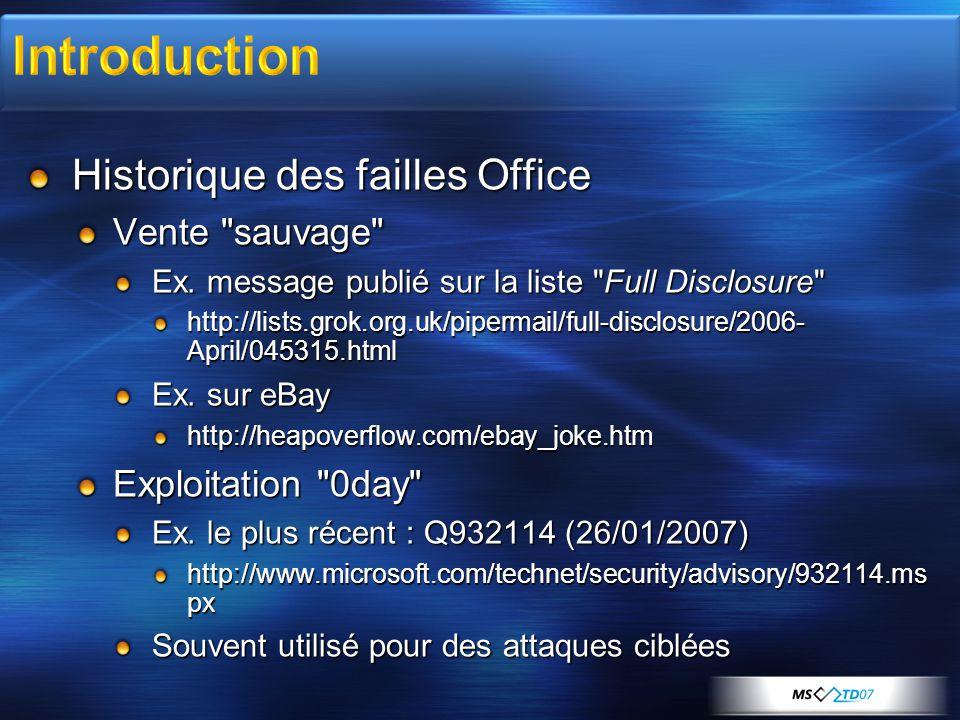 Historique des failles Office Vente sauvage Ex.