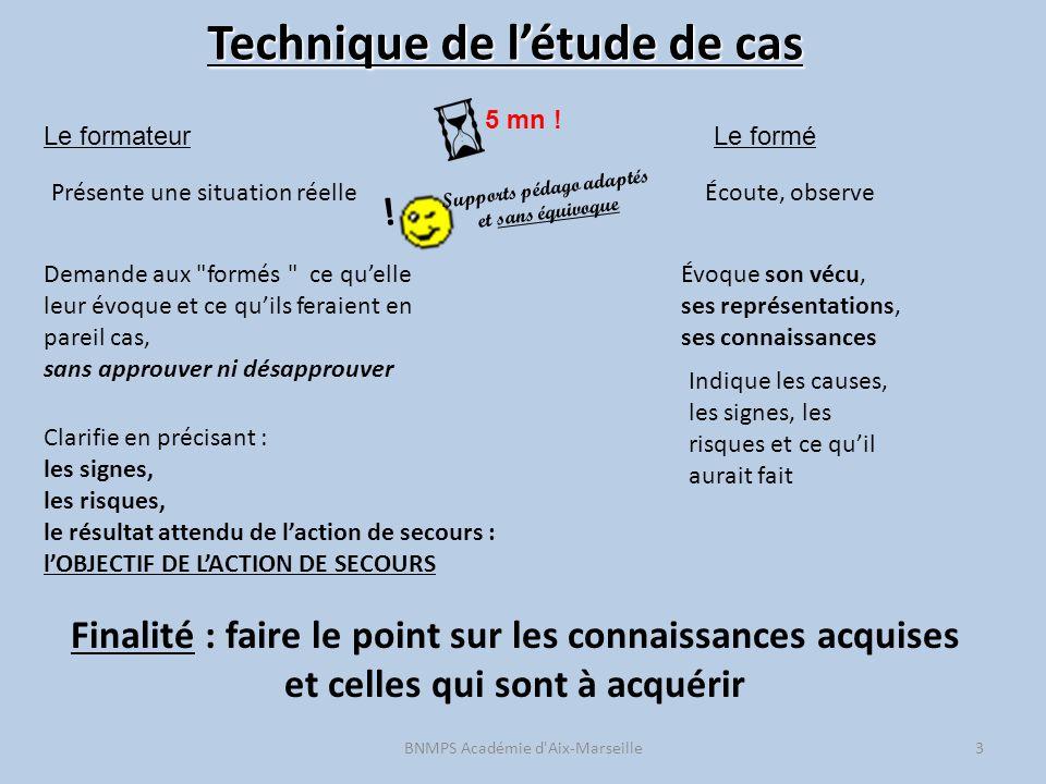 Technique de l'étude de cas BNMPS Académie d'Aix-Marseille3 5 mn ! Le formateurLe formé Présente une situation réelle Demande aux