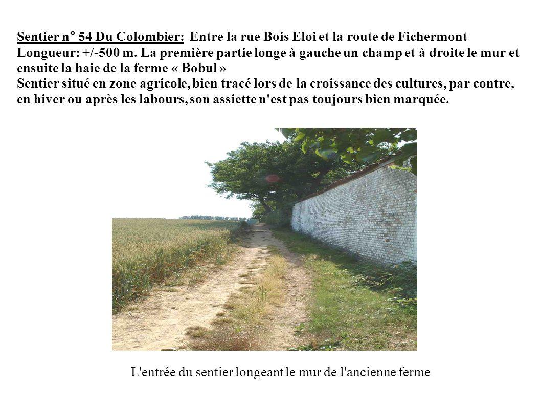 Sentier n° 54 Du Colombier: Entre la rue Bois Eloi et la route de Fichermont Longueur: +/-500 m.