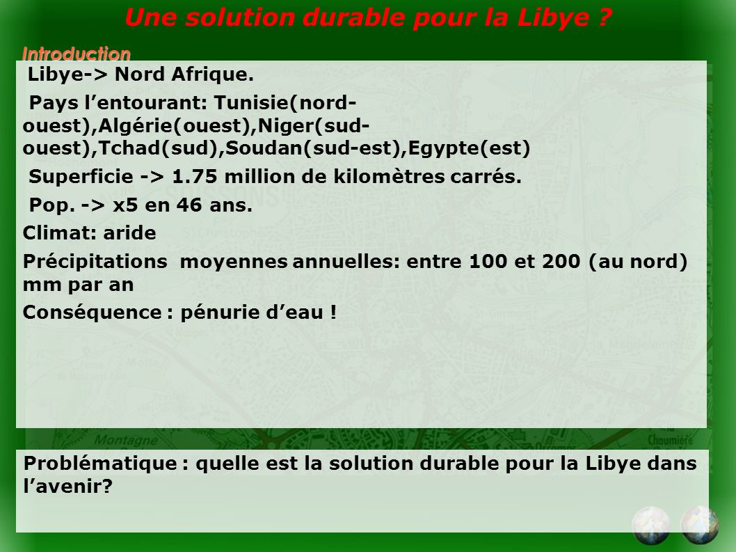 Introduction Libye-> Nord Afrique.