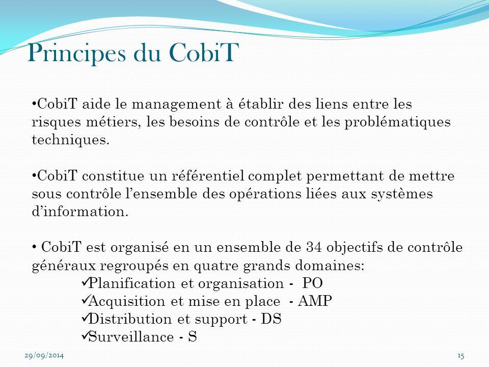 29/09/201415 Principes du CobiT CobiT aide le management à établir des liens entre les risques métiers, les besoins de contrôle et les problématiques
