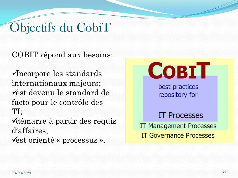 Objectifs du CobiT 29/09/201417 COBIT répond aux besoins: Incorpore les standards internationaux majeurs; est devenu le standard de facto pour le cont