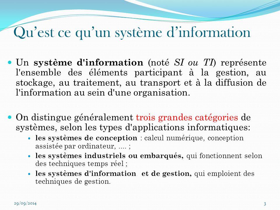 Qu'est ce qu'un système d'information Un système d'information (noté SI ou TI ) représente l'ensemble des éléments participant à la gestion, au stocka