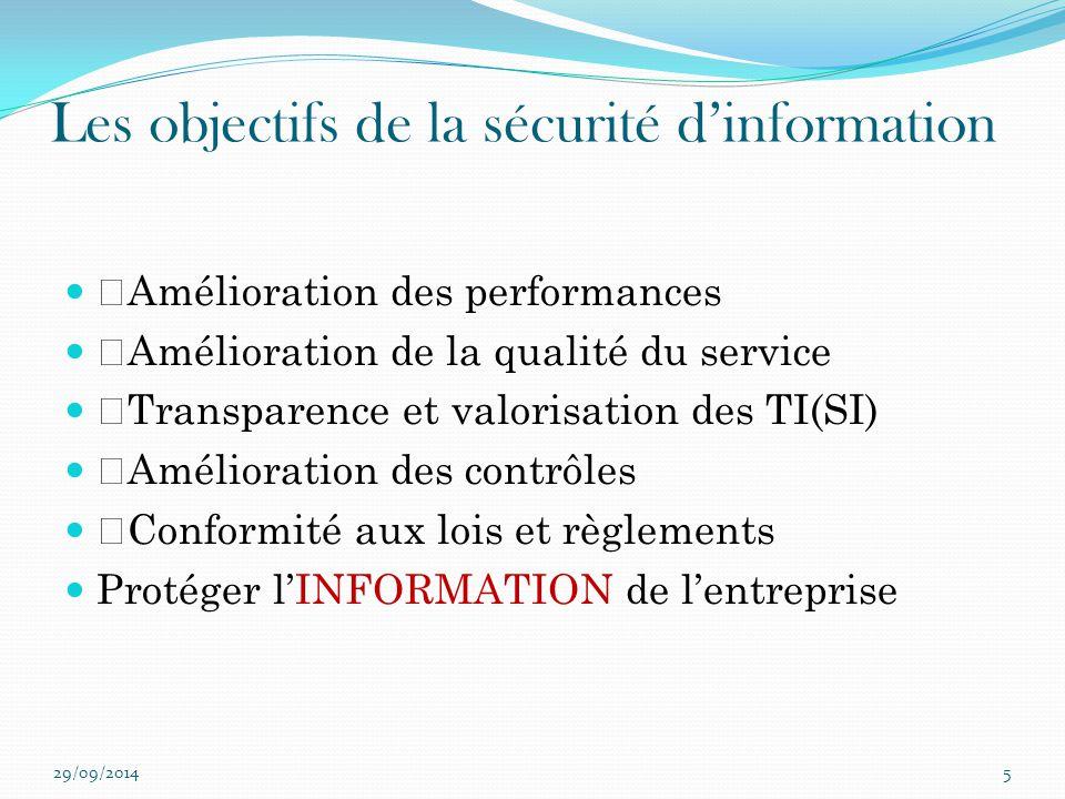 """Les objectifs de la sécurité d'information """"Amélioration des performances """"Amélioration de la qualité du service """"Transparence et valorisation des TI("""