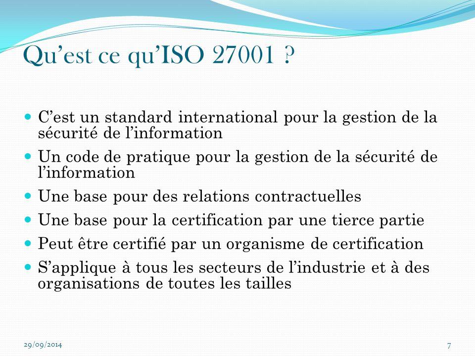 Qu'est ce qu'ISO 27001 ? C'est un standard international pour la gestion de la sécurité de l'information Un code de pratique pour la gestion de la séc