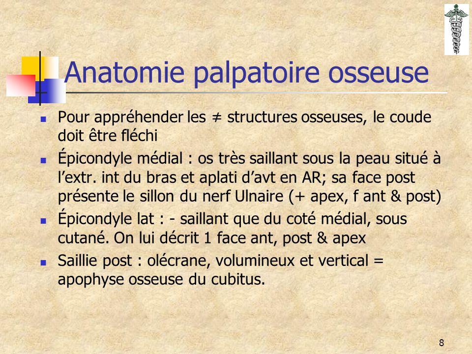 8 Anatomie palpatoire osseuse Pour appréhender les ≠ structures osseuses, le coude doit être fléchi Épicondyle médial : os très saillant sous la peau