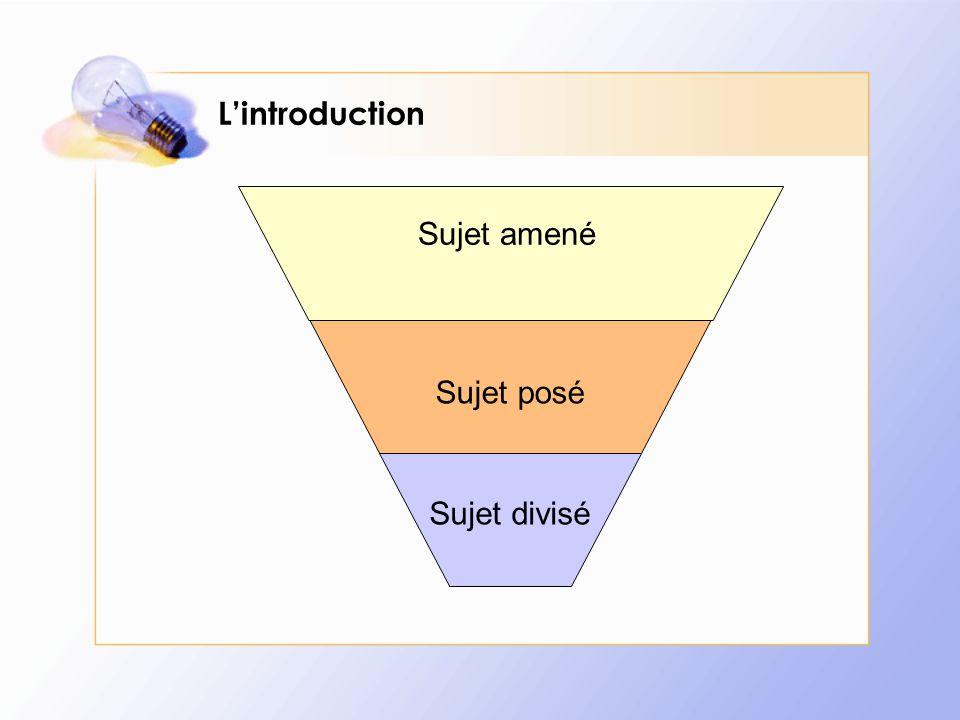 L'introduction – Le sujet amené Le sujet amené doit susciter l'intérêt du lecteur C'est une introduction à l'introduction...