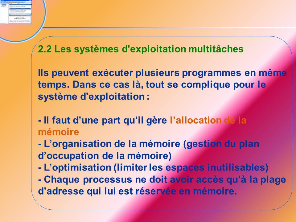 2.2 Les systèmes d'exploitation multitâches Ils peuvent exécuter plusieurs programmes en même temps. Dans ce cas là, tout se complique pour le système