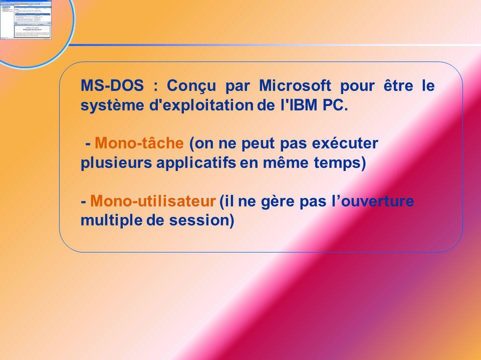 MS-DOS : Conçu par Microsoft pour être le système d'exploitation de l'IBM PC. - Mono-tâche (on ne peut pas exécuter plusieurs applicatifs en même temp