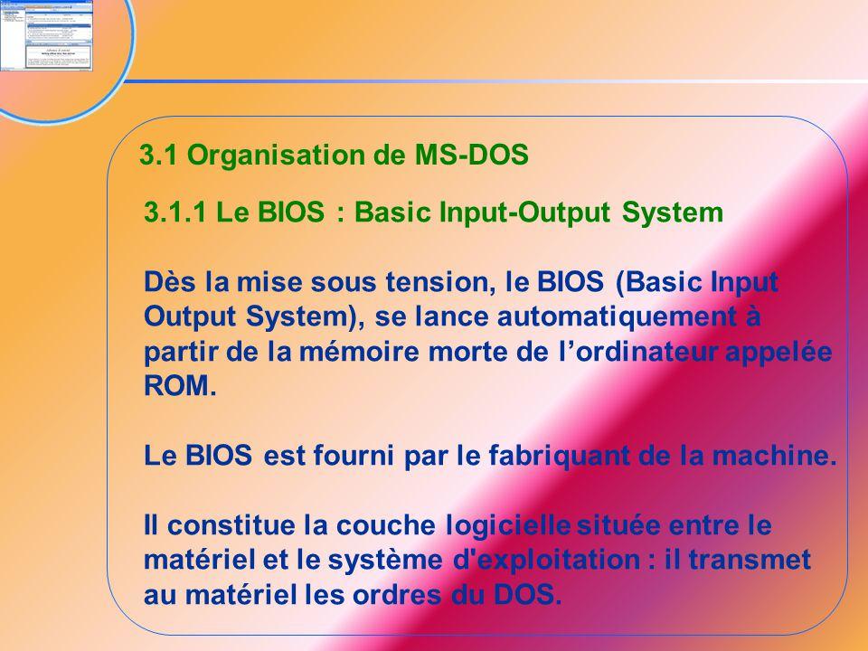 3.1 Organisation de MS-DOS 3.1.1 Le BIOS : Basic Input-Output System Dès la mise sous tension, le BIOS (Basic Input Output System), se lance automatiq