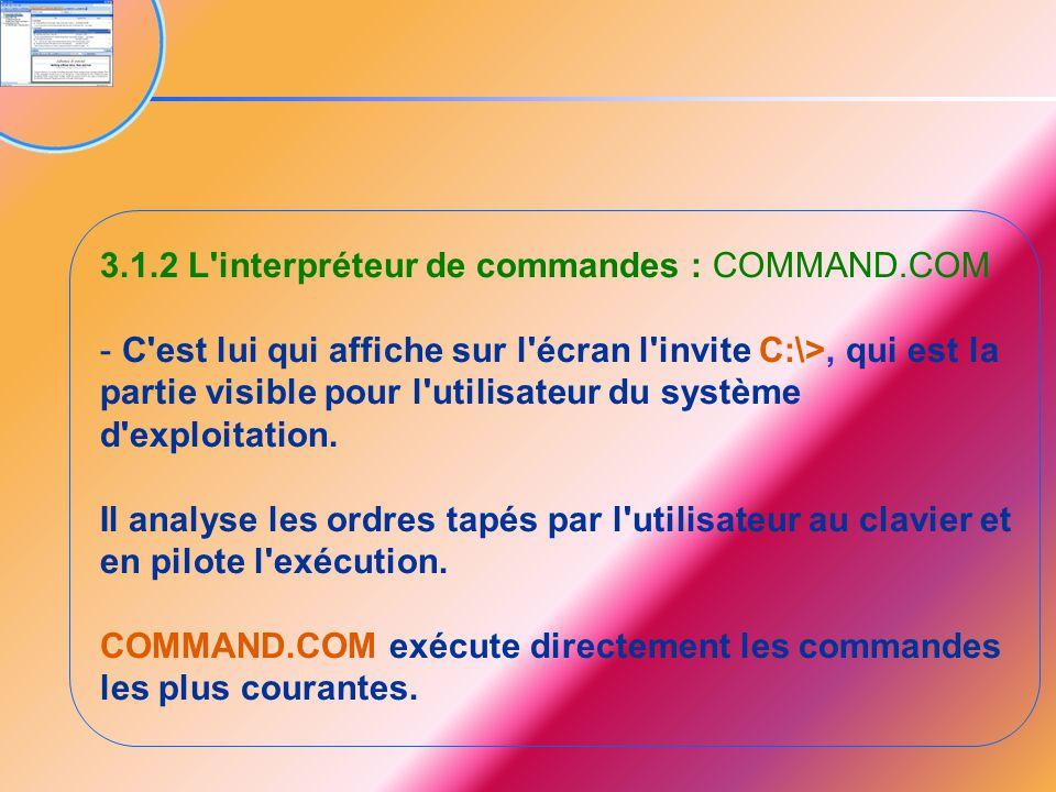 3.1.2 L'interpréteur de commandes : COMMAND.COM - C'est lui qui affiche sur l'écran l'invite C:\>, qui est la partie visible pour l'utilisateur du sys