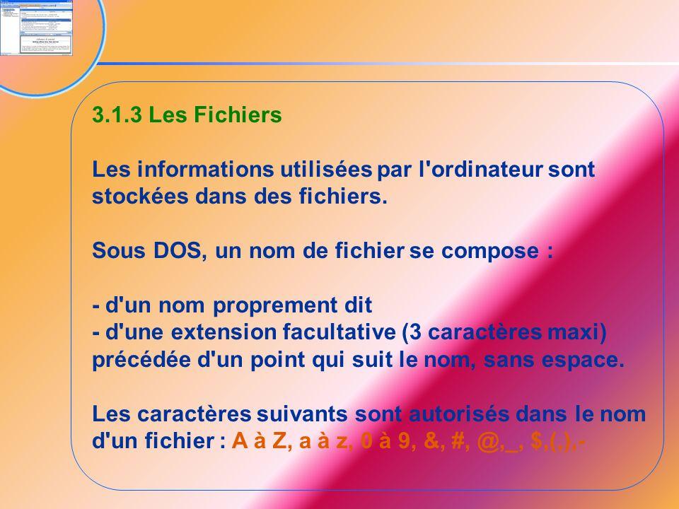 3.1.3 Les Fichiers Les informations utilisées par l'ordinateur sont stockées dans des fichiers. Sous DOS, un nom de fichier se compose : - d'un nom pr