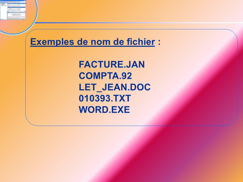 Exemples de nom de fichier : FACTURE.JAN COMPTA.92 LET_JEAN.DOC 010393.TXT WORD.EXE