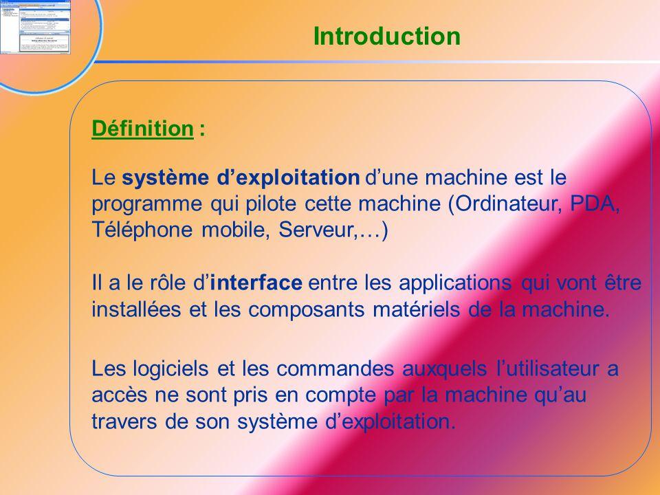 Définition : Le système d'exploitation d'une machine est le programme qui pilote cette machine (Ordinateur, PDA, Téléphone mobile, Serveur,…) Il a le