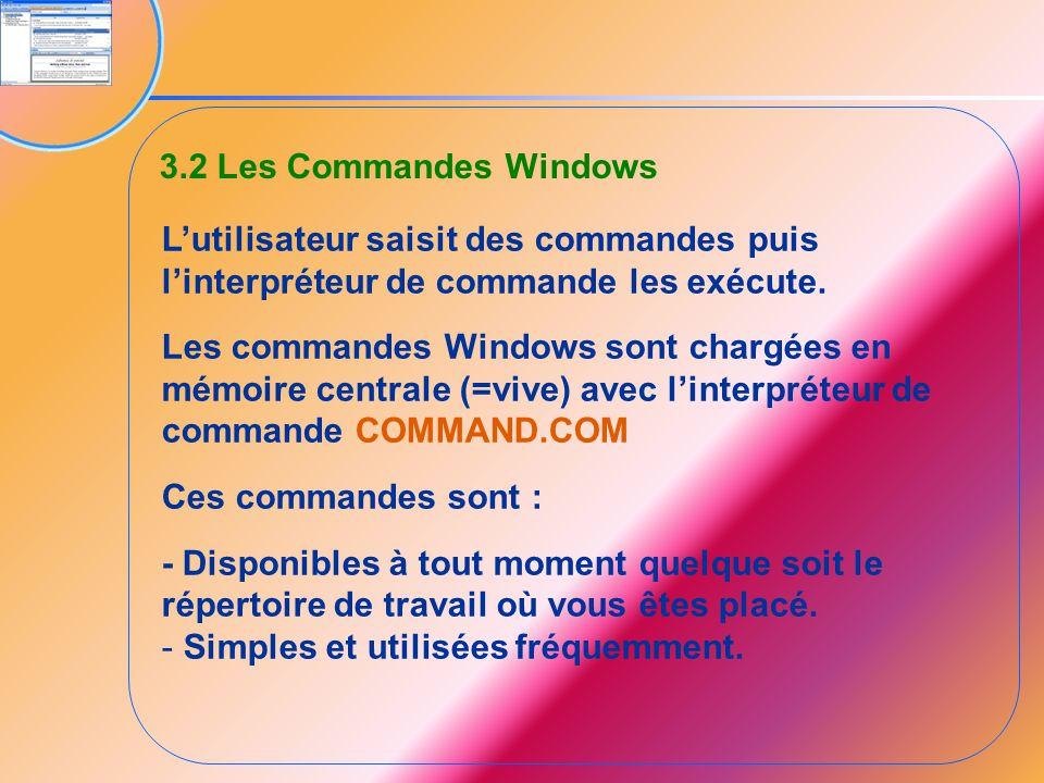 3.2 Les Commandes Windows L'utilisateur saisit des commandes puis l'interpréteur de commande les exécute. Les commandes Windows sont chargées en mémoi