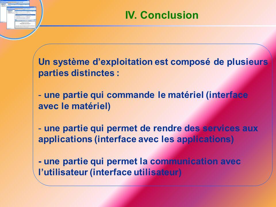 Un système d'exploitation est composé de plusieurs parties distinctes : - une partie qui commande le matériel (interface avec le matériel) - une parti