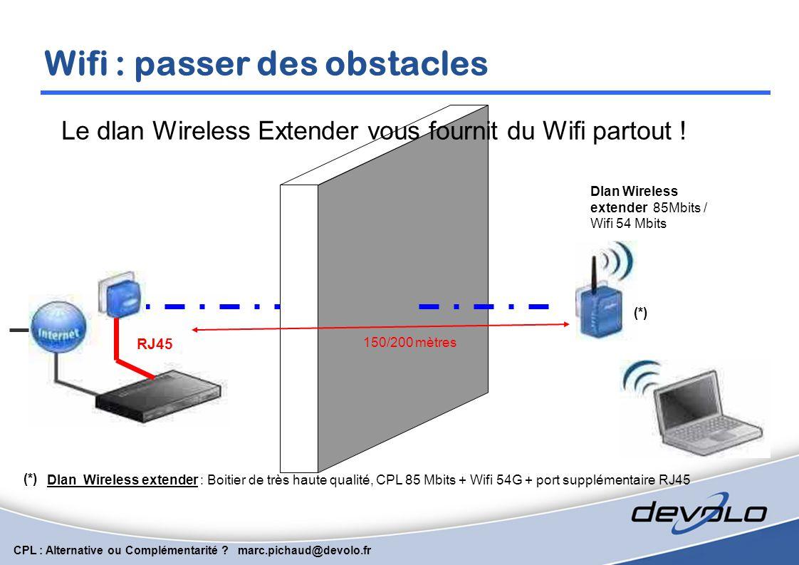 CPL : Alternative ou Complémentarité ? marc.pichaud@devolo.fr CPL: passer des obstacles RJ45 Le CPL passe aisément les murs porteurs …