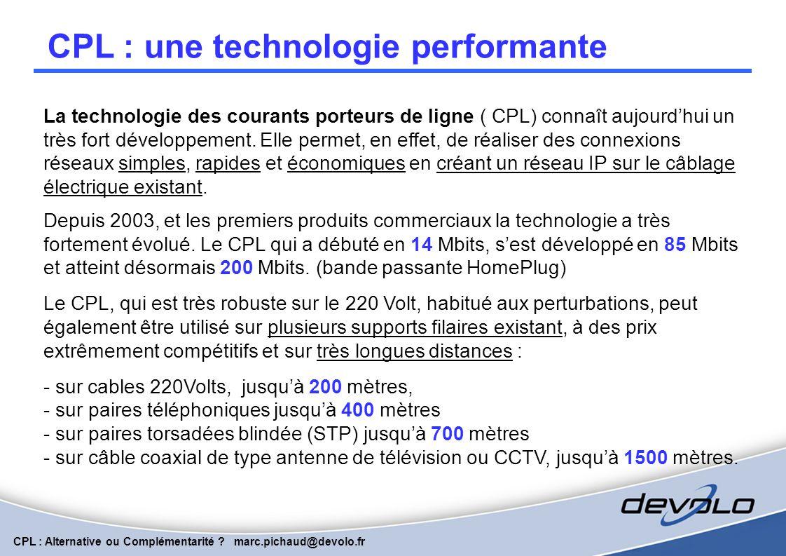 CPL : Alternative ou Complémentarité ? marc.pichaud@devolo.fr Principe de la Technologie Transmision de données par Modulation de Fréquences Flux de d