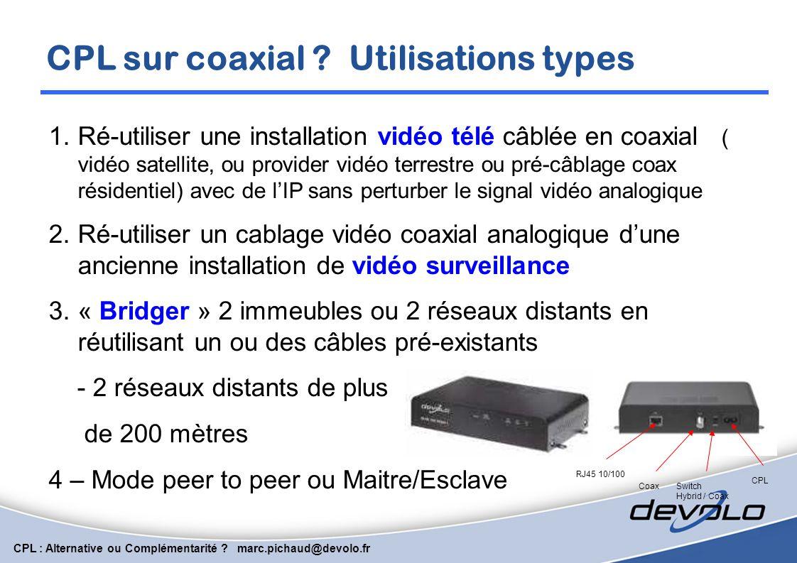 CPL : Alternative ou Complémentarité ? marc.pichaud@devolo.fr Connecter rapidement une caméra IP RJ45 Avec 200 Mbits de bande passante, le courant por