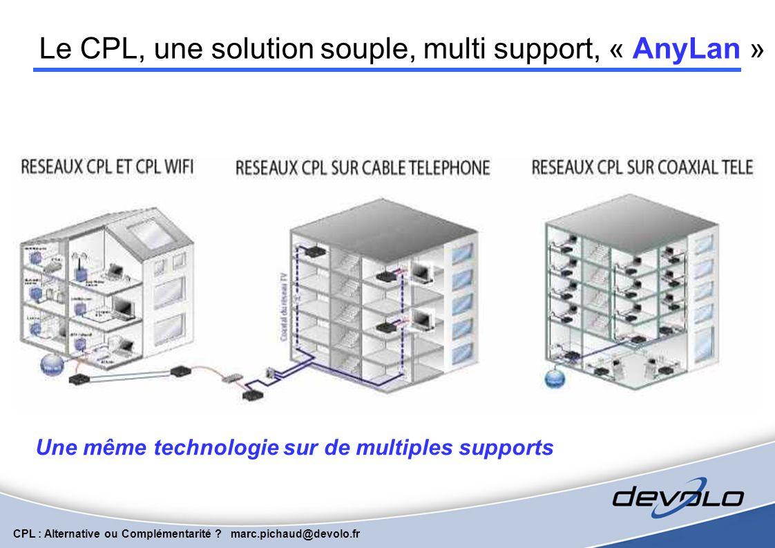 CPL : Alternative ou Complémentarité ? marc.pichaud@devolo.fr La technologie des courants porteurs de ligne ( CPL) connaît aujourd'hui un très fort dé