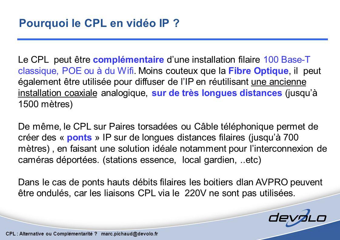 CPL : Alternative ou Complémentarité ? marc.pichaud@devolo.fr EXEMPLES D'APPLICATIONS PROFESSIONNELLES HAUTS DEBITS sur CPL Affichage Dynamique Extens