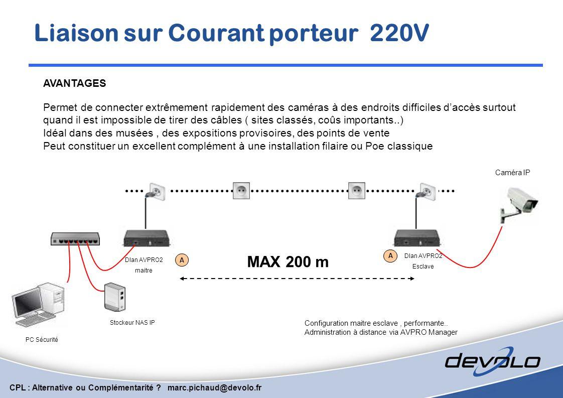CPL : Alternative ou Complémentarité ? marc.pichaud@devolo.fr Le CPL peut être complémentaire d'une installation filaire 100 Base-T classique, POE ou