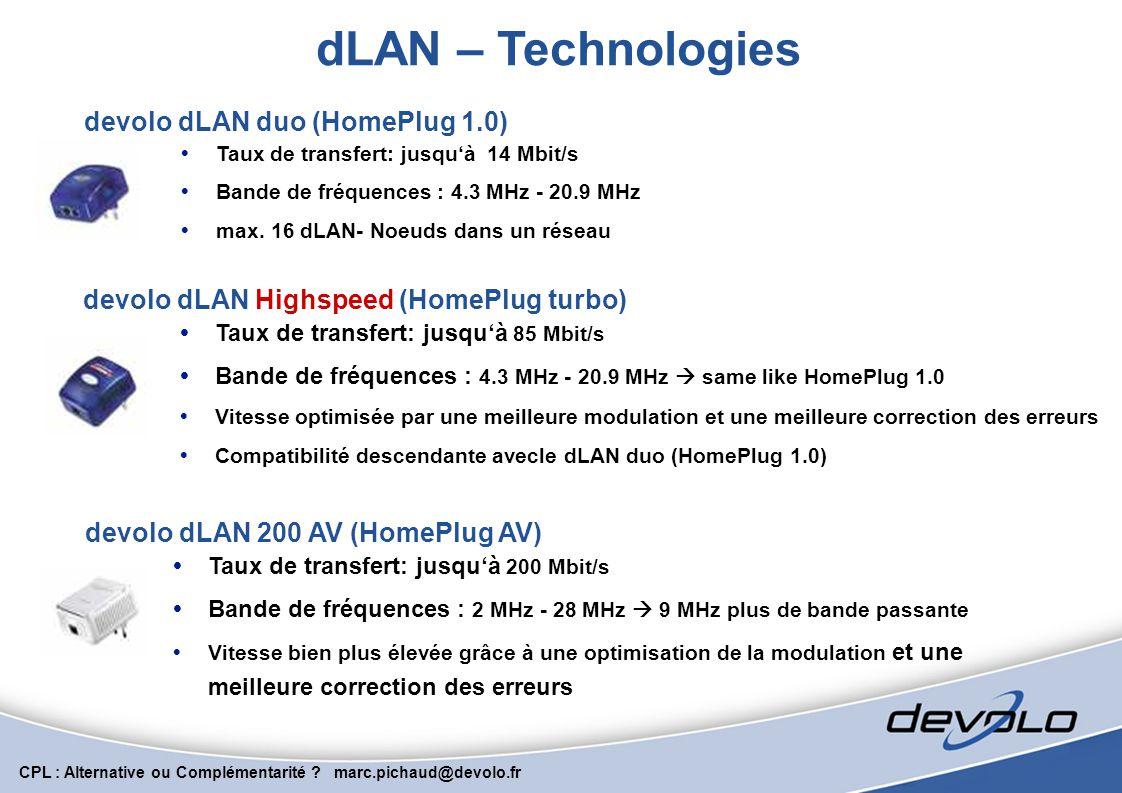 CPL : Alternative ou Complémentarité ? marc.pichaud@devolo.fr Le CPL, une solution souple, multi support, « AnyLan » Une même technologie sur de multi