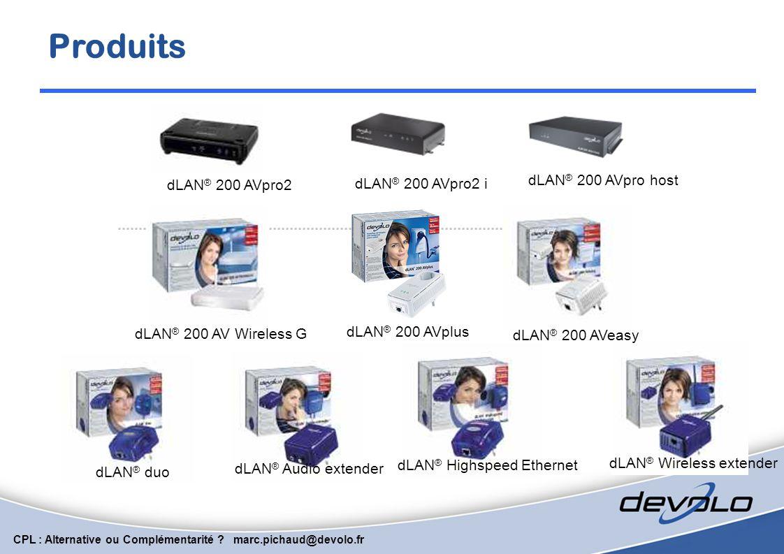 CPL : Alternative ou Complémentarité ? marc.pichaud@devolo.fr Nouveautés : dLAN AV 200 AV Plus 200AV + Prise électrique 16 A filtrante compatible mult