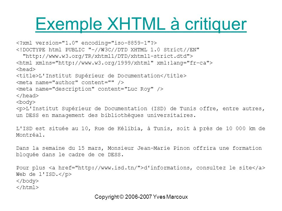 Copyright © 2006-2007 Yves Marcoux <!DOCTYPE html PUBLIC