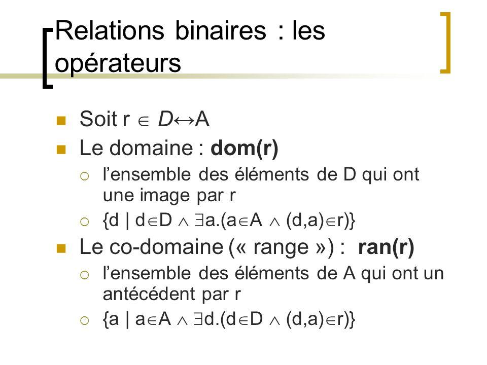 Relations binaires : les opérateurs Soit r  D↔A Le domaine : dom(r)  l'ensemble des éléments de D qui ont une image par r  {d | d  D   a.(a  A  (d,a)  r)} Le co-domaine (« range ») : ran(r)  l'ensemble des éléments de A qui ont un antécédent par r  {a | a  A   d.(d  D  (d,a)  r)}