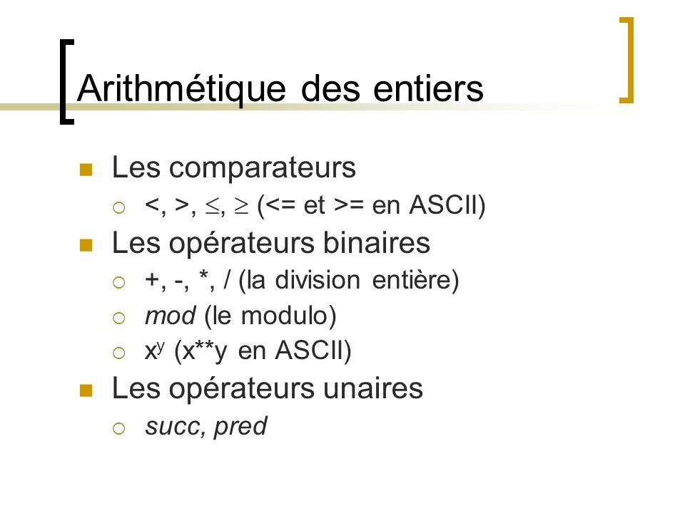 Arithmétique des entiers Les comparateurs , ,  ( = en ASCII) Les opérateurs binaires  +, -, *, / (la division entière)  mod (le modulo)  x y (x**y en ASCII) Les opérateurs unaires  succ, pred