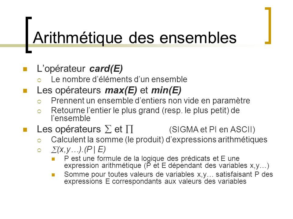 Arithmétique des ensembles L'opérateur card(E)  Le nombre d'éléments d'un ensemble Les opérateurs max(E) et min(E)  Prennent un ensemble d'entiers non vide en paramètre  Retourne l'entier le plus grand (resp.