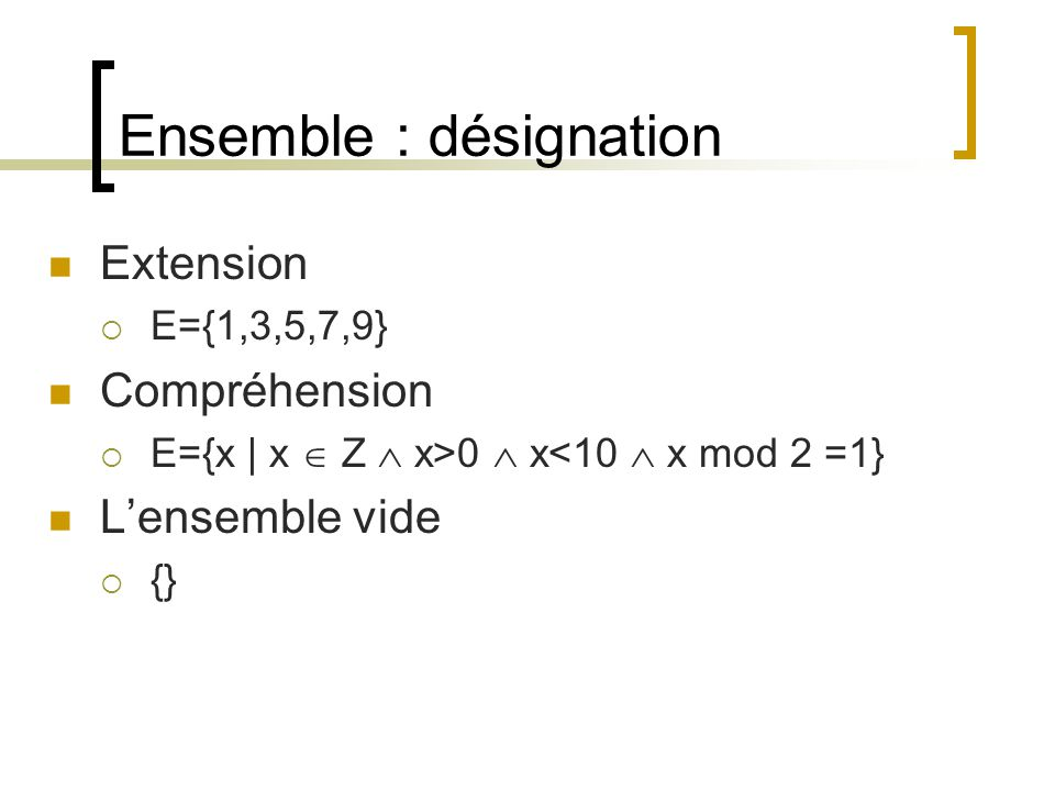 Ensemble : désignation Extension  E={1,3,5,7,9} Compréhension  E={x | x  Z  x>0  x<10  x mod 2 =1} L'ensemble vide  {}