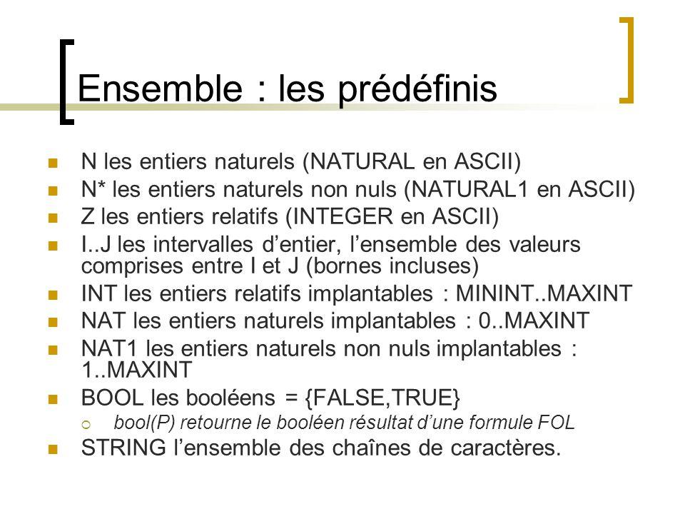 Ensemble : les prédicats x  E (: en ASCII) E1  E2 (<: en ASCII,  notée <<:) E1 x E2 (* en ASCII)  Produit cartésien non commutatif  a ->b ≠ b ->a P(E) (POW en ASCII) Négation des prédicats par le symbole /   devient /: en ASCII