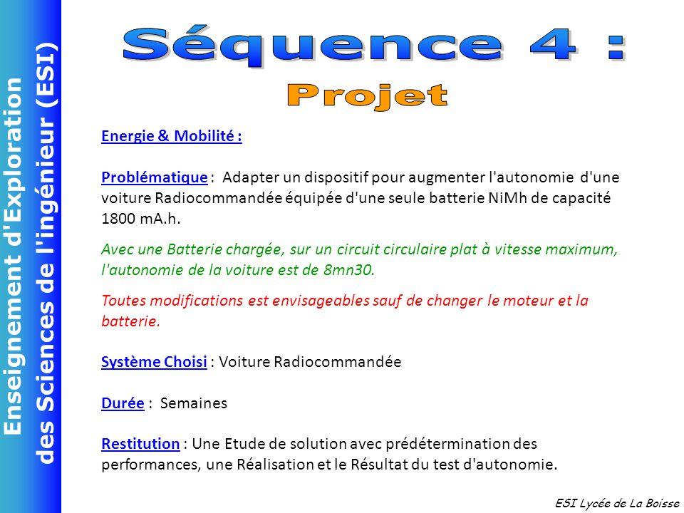 Enseignement d'Exploration des Sciences de l'ingénieur (ESI) ESI Lycée de La Boisse Energie & Mobilité : Problématique : Adapter un dispositif pour au