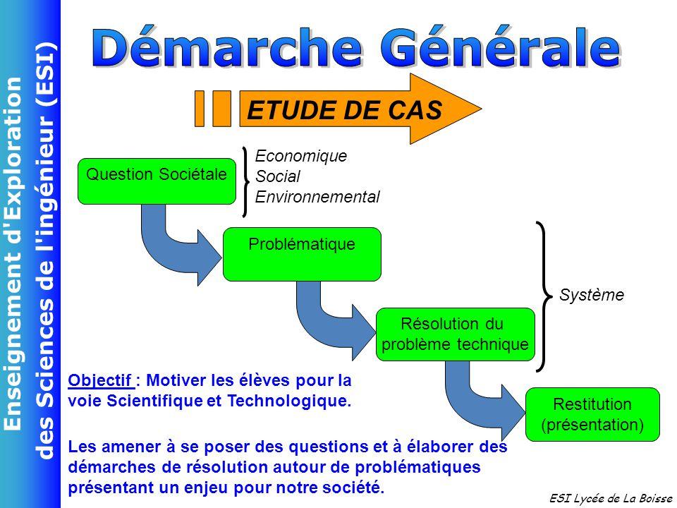 Enseignement d Exploration des Sciences de l ingénieur (ESI) ESI Lycée de La Boisse 4 semaines Introduction SI Septembre Début Octobre VACVAC VACVAC VACVAC VACVAC 9 sem- Etude 3 semaines Mini Projet Séquence 1 Etude de Cas 2 Phase 2 : 4 Semaines Phase 4 : 5 Semaines Phase 3 (2 Sem) Interventions 1&2 Phase 1 : 4 Semaines Fin Décembre -aines de Cas 1 Toussaint Séquence 2 Fin Janvier Fin Février Fin Avril Séquence 3 Projet : Juin Mai