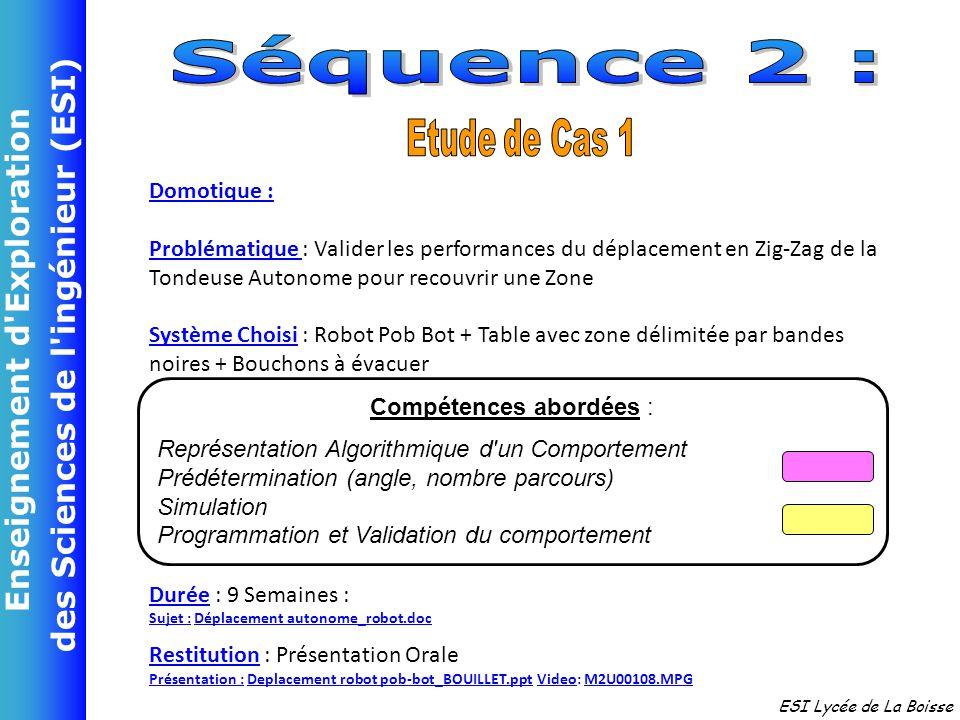 Enseignement d'Exploration des Sciences de l'ingénieur (ESI) ESI Lycée de La Boisse Domotique : Problématique : Valider les performances du déplacemen