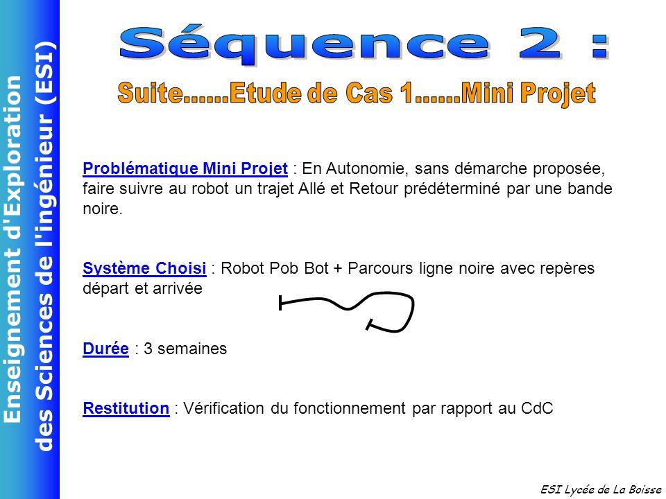 Enseignement d'Exploration des Sciences de l'ingénieur (ESI) ESI Lycée de La Boisse Problématique Mini Projet : En Autonomie, sans démarche proposée,