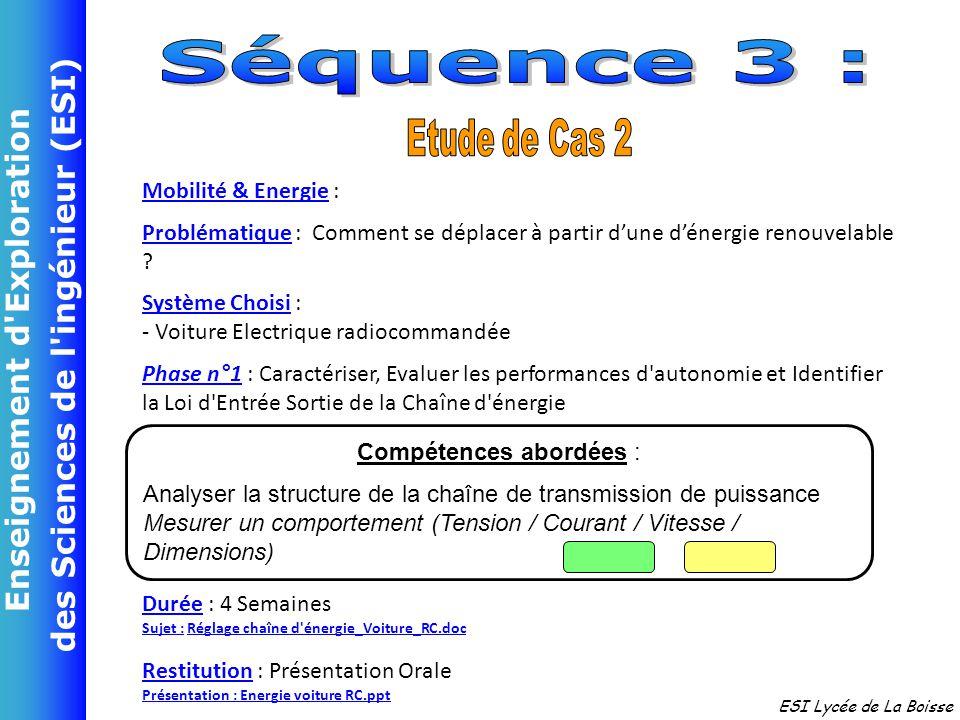 Enseignement d'Exploration des Sciences de l'ingénieur (ESI) ESI Lycée de La Boisse Mobilité & Energie : Problématique : Comment se déplacer à partir