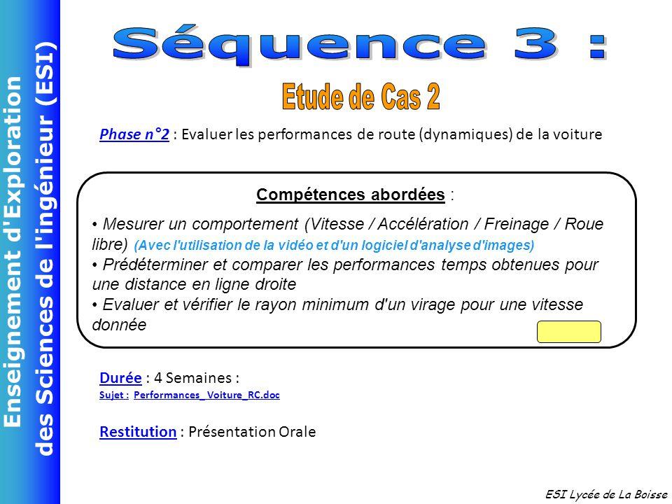 Enseignement d'Exploration des Sciences de l'ingénieur (ESI) ESI Lycée de La Boisse Phase n°2 : Evaluer les performances de route (dynamiques) de la v