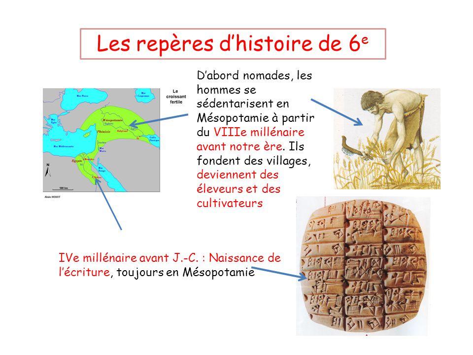 Les repères d'histoire de 6 e D'abord nomades, les hommes se sédentarisent en Mésopotamie à partir du VIIIe millénaire avant notre ère.