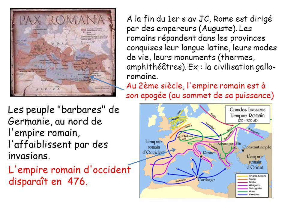 Au 2ème siècle, l empire romain est à son apogée (au sommet de sa puissance) Les peuple barbares de Germanie, au nord de l empire romain, l affaiblissent par des invasions.