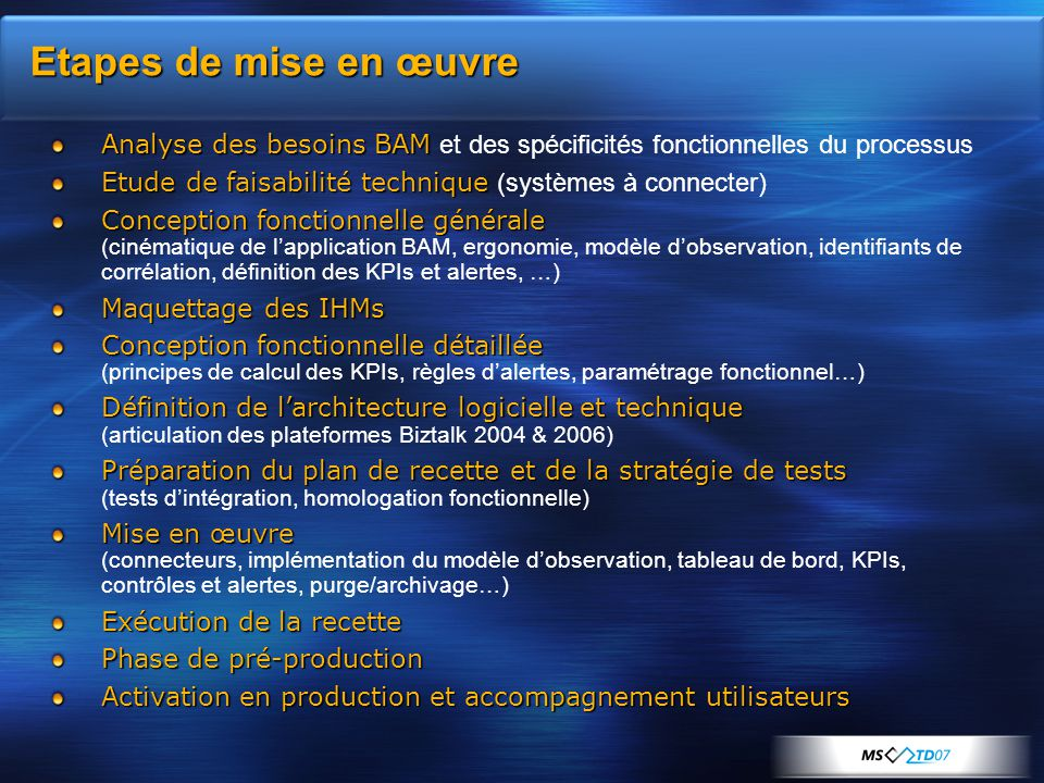 Etapes de mise en œuvre Analyse des besoins BAM Analyse des besoins BAM et des spécificités fonctionnelles du processus Etude de faisabilité technique