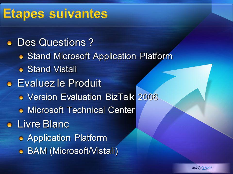 Des Questions ? Stand Microsoft Application Platform Stand Vistali Evaluez le Produit Version Evaluation BizTalk 2006 Microsoft Technical Center Livre