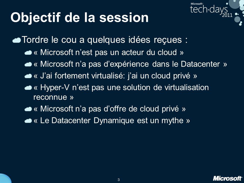 3 Objectif de la session Tordre le cou a quelques idées reçues : « Microsoft n'est pas un acteur du cloud » « Microsoft n'a pas d'expérience dans le Datacenter » « J'ai fortement virtualisé: j'ai un cloud privé » « Hyper-V n'est pas une solution de virtualisation reconnue » « Microsoft n'a pas d'offre de cloud privé » « Le Datacenter Dynamique est un mythe »
